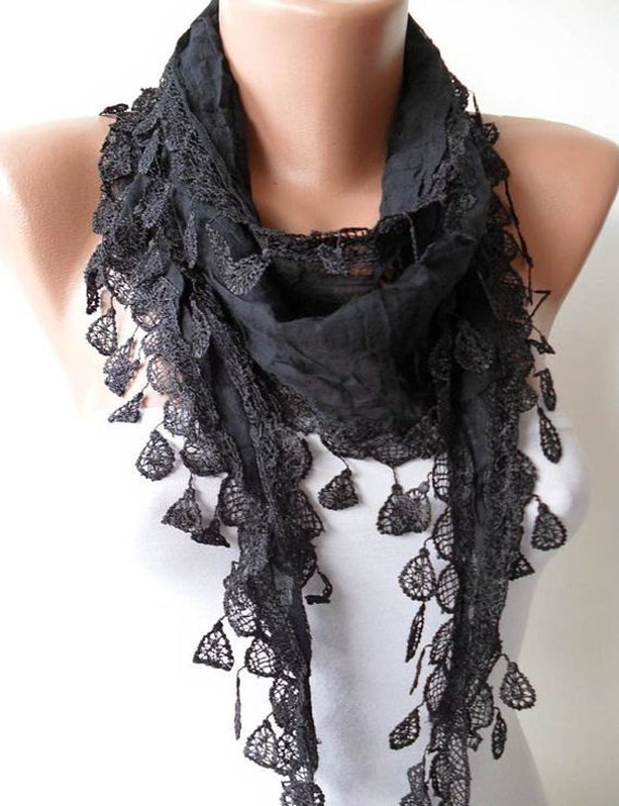 Black Cotton Scarf Women Fall Winter Scarf Girlfriend Wife Christmas Gifts Fashion Gifts Scarves Gift for Her Christmas Gift Cyber Monday