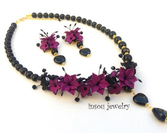 Statement Flower Necklace, Violet Jewelry, Black Jewelry, Violet Flower Jewelry, Elegant Jewelry Set, Lily Jewelry, Women Gift,Heart Jewelry