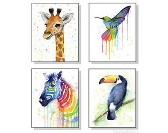Nursery Wall Art Decor Nursery Art Prints Animal Watercolor Painting Art Prints Set of 4 Prints, Baby Giraffe, Hummingbird, Zebra, Toucan