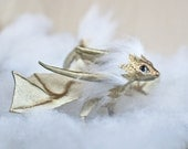 OOAK Little Gold-Pearl Dragon with white mane, miniature poseable art toy with flexible body, fantasy art doll, pet for bjd, baby-dragon