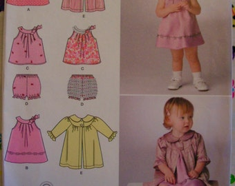 Baby Dress Top Panties Coat Child Sizes XXS S M L SIMPLICITY 2668 uncut factory folded sewing pattern