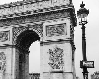 Paris France Photography - Arc de Triomphe - Champs Elysees - Travel - Fine Art Photograph Print - Black and White - Home Decor