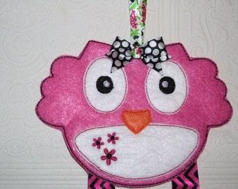 Owl Bow Holder - Barrette Holder - Clippie Keeper - Hair clip Organizer -  Pink Bow Holder - Owl Wall Organizer - Black Clip Holder
