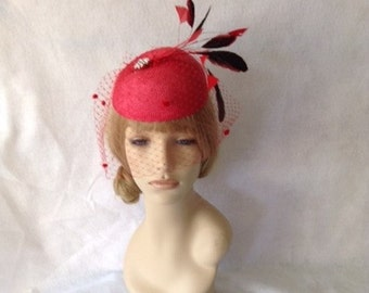 Red Fascinator Hat, Feather Hatinator, Valentine's Day Bridal Headpiece, Red Birdcage Veil  Royal Ascot Races Derby Hat