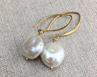 Large White Coin Pearl Drop Earrings, Creamy White Baroque Freshwater Pearls on 24k Gold Vermeil Ear Wires, Item Number E1115