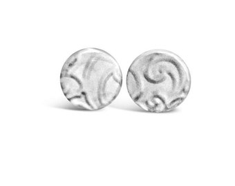 Sterling Silver Textured Earrings, Textured Silver Studs, Sterling Silver Studs, Small Stud Earrings, Simple Earrings, Birthday Gift For Her