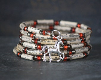 The Legend of Sleepy Hollow, The Headless Horseman, Ichabod Crane, recycled book bracelet, horse bracelet, Sleepy Hollow bracelet, book bead