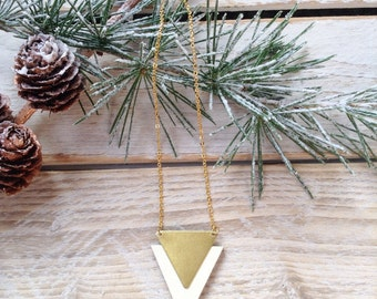 Triangle necklace in Ivory, wood and brass necklace, geometric necklace, white and gold necklace, gifts for her