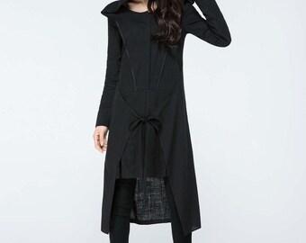 black long dress, long linen dress, hood dress, hooded dress, long sleeves dress, linen dress, tiered dress, designer dress   C1075