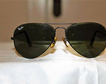 SALE! Vintage RAYBAN Aviator Excellent Condition Black Lens L2323 Sunglasses MSCBX