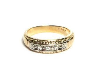 Vintage Ring - 14k Yellow Gold and White Gold - Two Tone Diamond Band - Size 5.5 - Weight 3.5 Grams # 1512