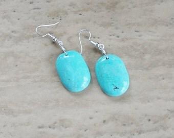 Turquiose Earrings, Women's Beaded Earrings, Blue Dangle Earrings