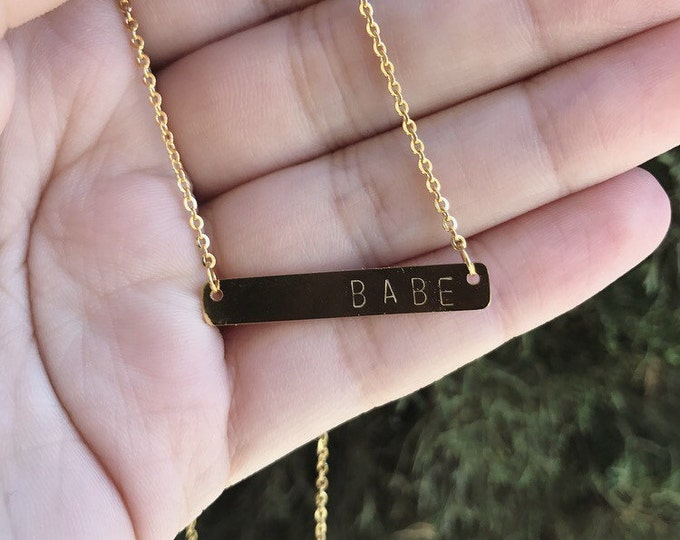 Babe Handstamped Bar Necklace in Rose Gold and Gold