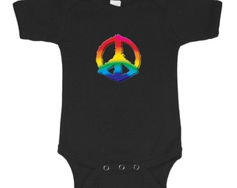 Peace sign baby shirt for infant bodysuit romper one piece
