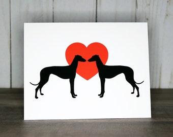 Greyhound Valentine Cards, Pack of Greyhound Dog Notecards, Valentine's Day Cards