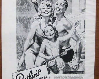 Butlins, 1953, vintage, ad, original, holiday camp, vacation, English,advertisement, free shipping, paper, ephemera