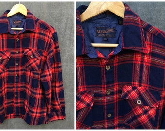 Vintage Woodland Red and Blue Plaid Flannel Shirt - Men's Size XL