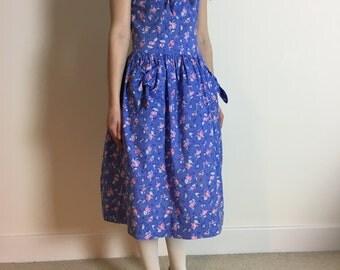 SALE 1990s laura ashley dress | iconic rose print | full skirt dress | made in gb