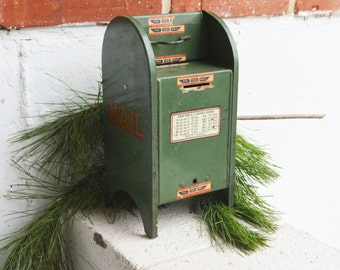 Vintage Green All American US Mail Box Bank/1940s