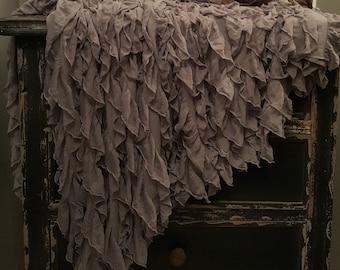 Ruffled Throw Drapey Soft Chiffon Ruffles on Knit Background Romantic Shabby & Chic