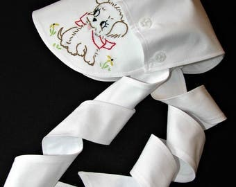 Toddler sunbonnet bonnet summer spring hand embroidered white cotton MADE in the USA ready to ship
