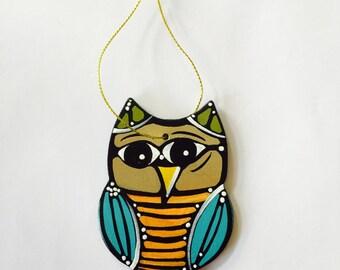 "Owl Ornament - Christmas Tree Decor - 3"" Original Handmade and Signed Cute Owl Wood Flat Ornament. Owl Gift, Owl Art. One of a kind."