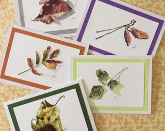 Set of five watercolor notecards greeting cards nature hand painted leaves spring summer autumn