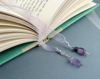Ribbon Bookmark, Amethyst Crystals, Jeweled Pendants, Lavender Ribbon, Silver, Wire Wrapped Dangles, Book Lovers Gift, Teachers, Handmade