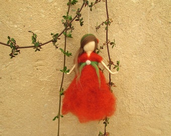 Wool Fairy,Pink Fairy,Magic Fairy,Faerie,Goddess Art,Nursery Decor,Gift For Her,Girl Power,Waldorf,Ornament,Spiritual Gift.