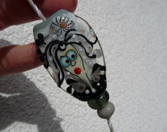 Face - 2 yellow Spacer bead  Focal Bead by Ulrike Dietrich