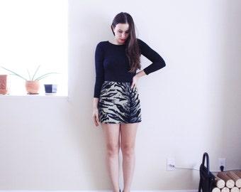 Rawr Tiger Skirt . 1990s Fuzzy Skirt Micro Mini Skirt Tiger Print Skirt Tiger Print mini skirt Parasuco Animal print skirt