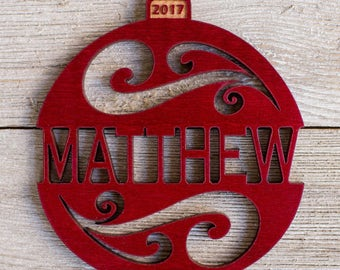 Personalized Christmas Ornament 2017 from Solid Red Maple or Mahogany Wood