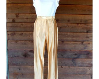 Vintage 1970s hand made shiny gold disco trousers, size XS-S