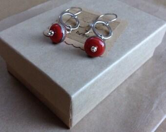 Red lampwork earrings, Red Earrings, Red Drop Earrings, Lampwork Earrings, Drop Earrings, Dangle & Drop