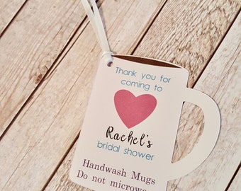 Coffee mug bridal shower favor tags Customizable text and colors Perfect Blend Love is Brewing Coffee party theme