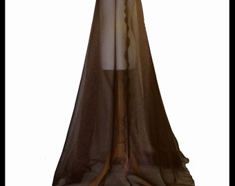 Beautiful Chocolate Brown Shimmer Organza Cloak. Ideal for a Summer Wedding, Handfasting/ Medieval Event. Brand New. Made Especially For You