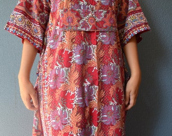 Block print 70's kaftan vintage maxi robe dress Pakistan ethnic hippie butterfly diva goddess wide armed