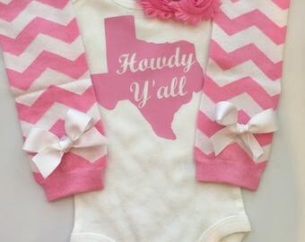 Baby girl outfit- Howdy Y'all - baby girl Texas outfit - Texas home shirt - baby girl clothes- texas newborn outfit - choose pieces
