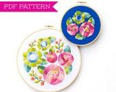 PDF Pattern, Flower Embroidery, Embroidery Pattern, Hoop Art, Flower Embroidery Pattern, Floral Embroidery Design, Garden Decor, Home Decor