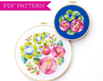 PDF Pattern, Flower Embroidery, Embroidery Pattern, Hoop Art, Flower Embroidery Pattern, Floral Embroidery Design, Garden Decor, Home Decor