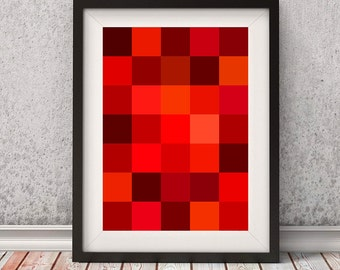 Red Squares Abstract Print   Red Wall Decor   Red Geometric Abstract Art    Instant Download
