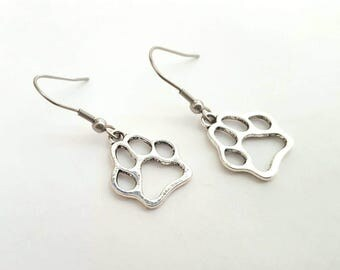 Silver Paw Print Earrings with Stainless Steel Earwires - Tibetan Silver - pet - dog paw - love