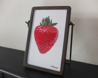 Strawberry framed art print painting in industrial metal frame