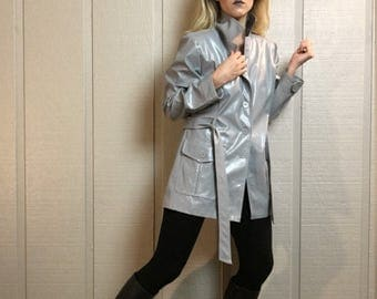 VNTG gray faux leather jacket 90s rave club