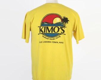 Vintage 80s Hawaii T-SHIRT / 1980S Crazy Shirts Hawaiian Kimo's Maui Back Print Tee Shirt M - L
