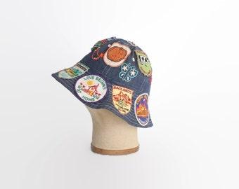 Vintage 70s DENIM Hat / 1970s Patched & Embroidered Hippie Bucket Hat