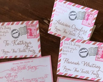 20 Tiny Tooth Fairy letters and Envelopes in Pinks and Browns Adorable!