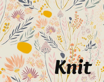 KNIT Wispy Daybreak in Aura - Leah Duncan for Art Gallery Fabrics - Desert Floral Wildflower Knit Fabric
