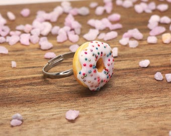 White Donut Ring With Sprinkles - Food Jewelry, Food Ring, Donut Jewelry, Miniature Food
