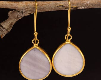Handcrafted Artisan 24K Yellow Gold over 925 Sterling Silver Natural Teardrop Mother of Pearl, Roman Art Designer Dangle, Hook Earrings